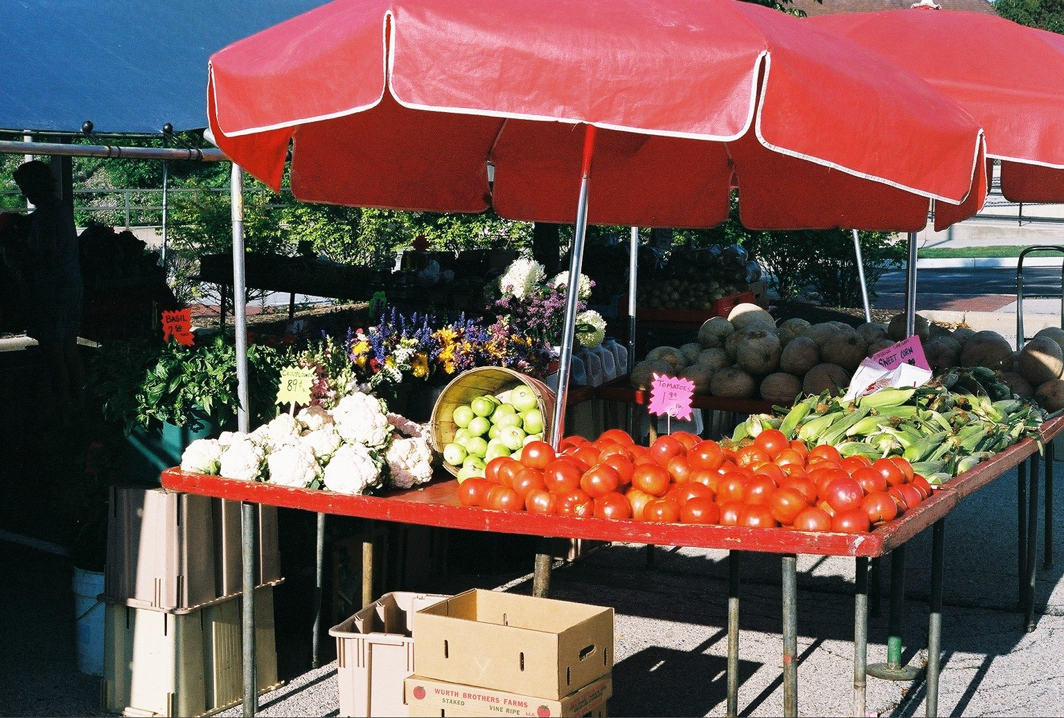 Red and white produce under red awning
