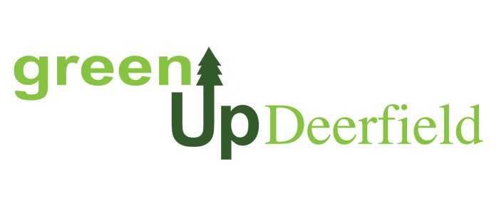 Green Up Deerfield logo with evergreen tree as part of design