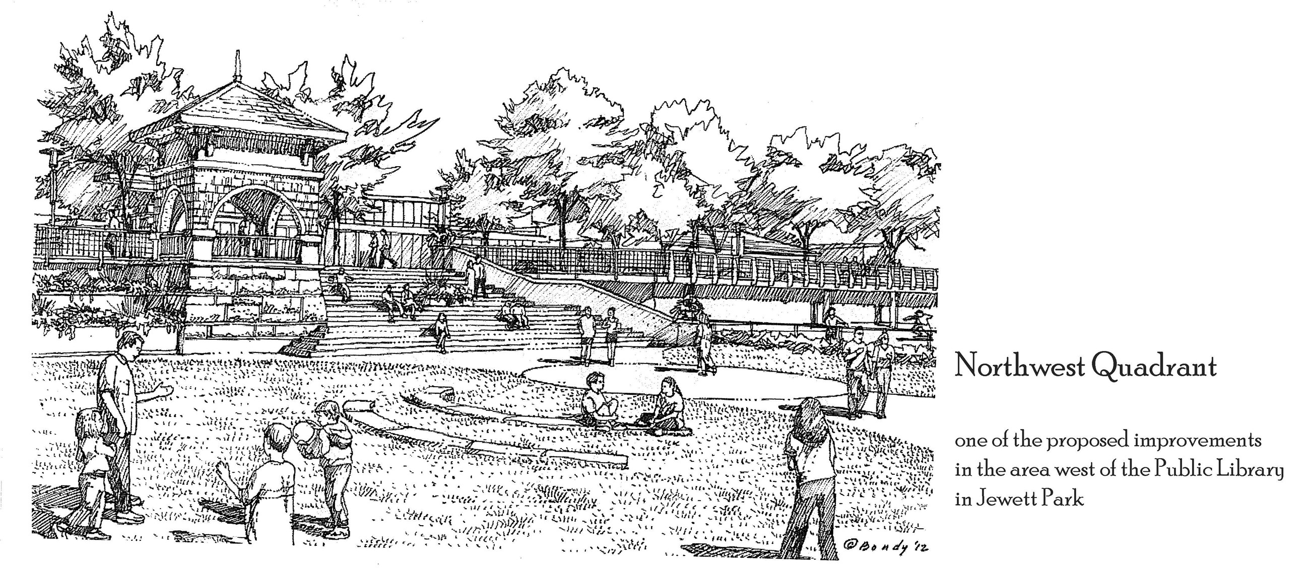 Northwest Quadrant drawing with buildings and people in a park setting